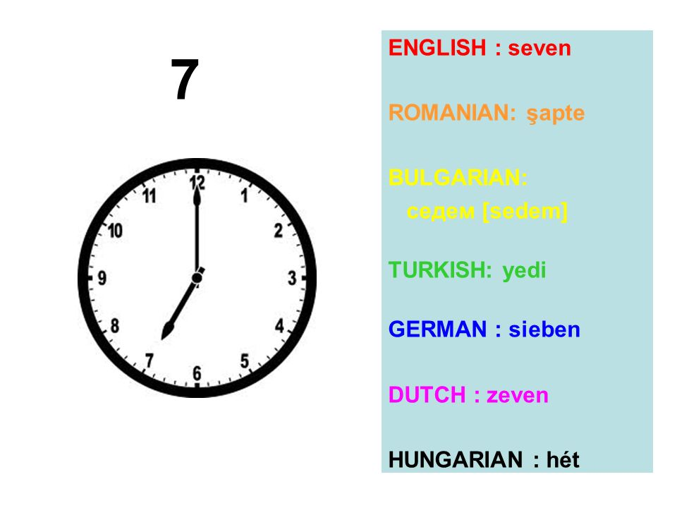 7 ENGLISH : seven ROMANIAN: şapte BULGARIAN: седем [sedem]